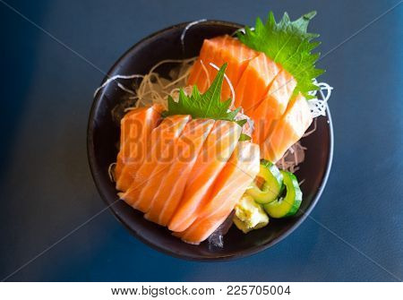 Japan Raw Salmon Slice Or Salmon Sashimi In Japanese Style Fresh In Japanese Restaurant.