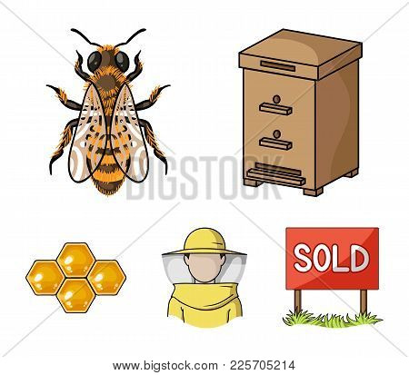 The Bee, The Bee-keeper In The Mask, The Honeycomb Of The Honey.apiary Set Collection Icons In Carto