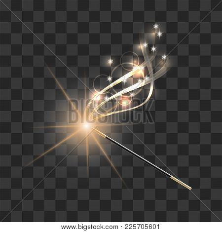Magic Wand With Magical Gold Sparkle Trail On Transparent Background. Vector Illustration