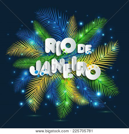 Illustration Of Rio De Janeiro From Brazil Vacation On Color Background, Colors Of The Brazilian Fla