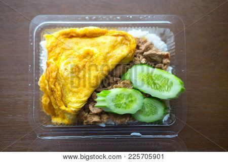 Pork Fried Garlic With Omelet Food Is A Popular Thai Food