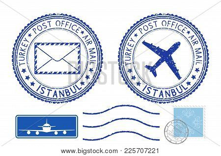 Blue Postal Elements. Istanbul, Turkey Postmark And Stamps. Vector Illustration Isolated On White Ba