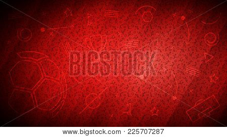 Football Championship Background. Vector Illustration Of Abstract Red Soccer Background With Differe