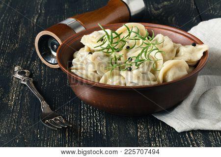 Russian Pelmeni In Dish, Dumpling With Meat