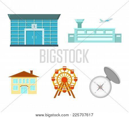 Airport, Bank, Residential Building, Ferris Wheel.building Set Collection Icons In Cartoon Style Vec