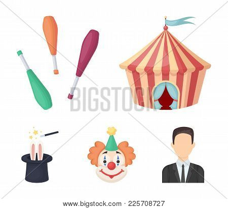 Circus Tent, Juggler Maces, Clown, Magician's Hat.circus Set Collection Icons In Cartoon Style Vecto