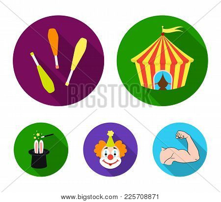 Circus Tent, Juggler Maces, Clown, Magician's Hat.circus Set Collection Icons In Flat Style Vector S