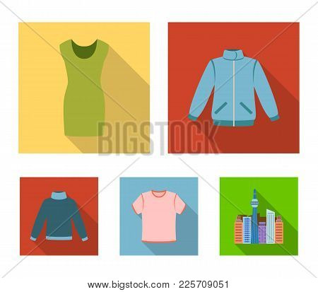 A Mans Jacket, A Tunic, A T-shirt, A Business Suit. Clothes Set Collection Icons In Flat Style Vecto