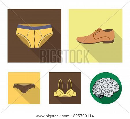 Shoes, Shoe, Panties, Underwear And Other Clothes. Clothes Set Collection Icons In Flat Style Vector