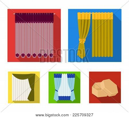 Curtains, Drapes, Garters, And Other  Icon In Flat Style. Textiles, Furniture, Bow Icons In Set Coll
