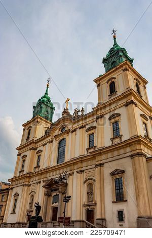 Warsaw, Poland - June 12, 2012: Facade Of Holy Cross Church In Warsaw