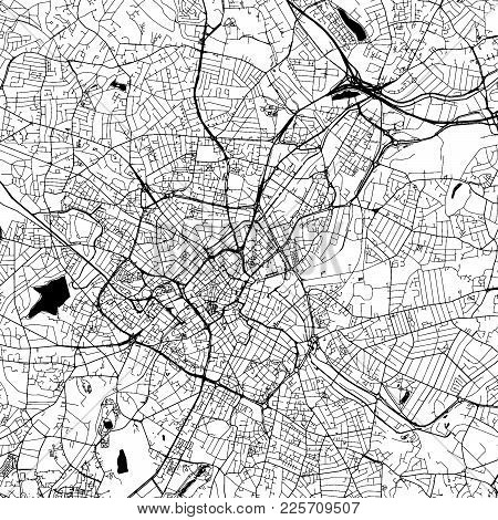 Birmingham Downtown Vector Map Monochrome Artprint, Outline Version For Infographic Background, Blac