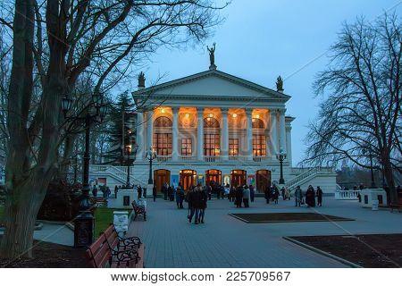Sevastopol, Russia - March 19, 2011: Beautiful Facade Of Russian Drama Theatre Of Lunacharsky In Cri