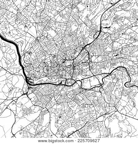 Bristol Downtown Vector Map Monochrome Artprint, Outline Version For Infographic Background, Black S
