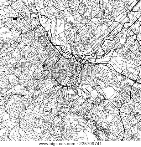Sheffield Downtown Vector Map Monochrome Artprint, Outline Version For Infographic Background, Black