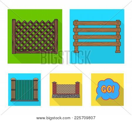A Fence Of Metal And Bricks, Wooden Palisade. A Different Fence Set Collection Icons In Flat Style V