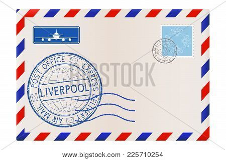 International Mail Envelope With Liverpool Blue Postmark. Vector Illustration Isolated On White Back