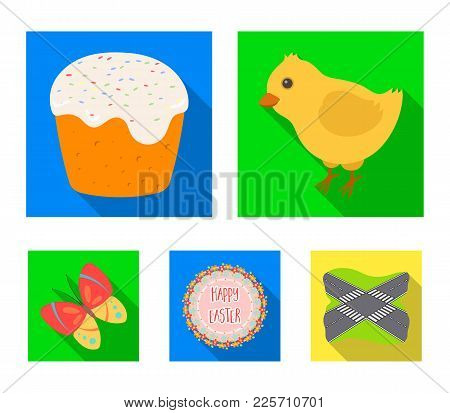 Easter Cake, Chicken, Butterfly And Greeting Sign.easter Set Collection Icons In Flat Style Vector S