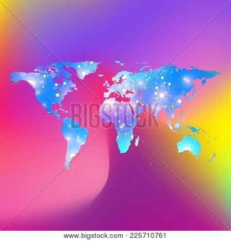 World Map Trendy Liquid Colors Background. Global Technology Networking Concept. Global Network Conn