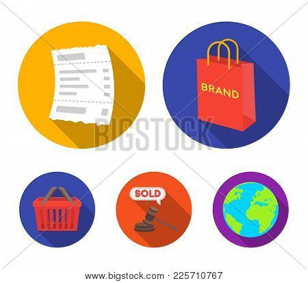 Bag And Paper, Check, Calculation And Other Equipment. E Commerce Set Collection Icons In Flat Style
