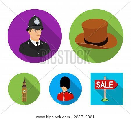 England, Gentleman, Hat, Officer .england Country Set Collection Icons In Flat Style Vector Symbol S