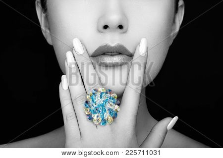 Beauty Fashion Woman Lips With Natural Makeup And White Nail Polish. Gloss Lipstick. Beauty Girl Fac