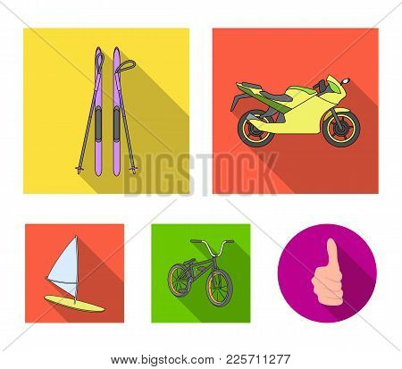 Motorcycle, Mountain Skiing, Biking, Surfing With A Sail.extreme Sport Set Collection Icons In Flat