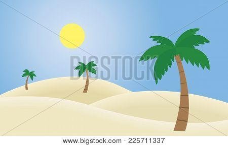 Vector Illustration Of A Sandy Desert With Dunes And Palms, Under A Blue Sky With Shining Sun