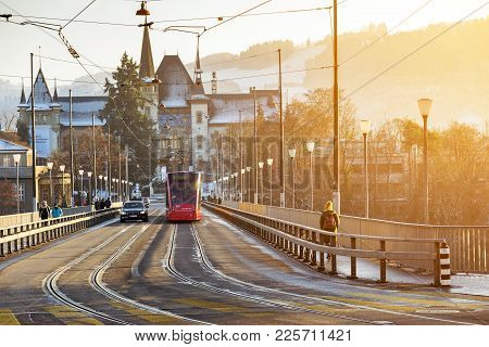 Bern, Switzerland-jan 3, 2017: The Electric Streetcar Is A Unique Vehicle Of The City Of Bern Used T