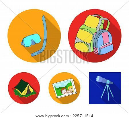 Travel, Vacation, Backpack, Luggage .family Holiday Set Collection Icons In Flat Style Vector Symbol