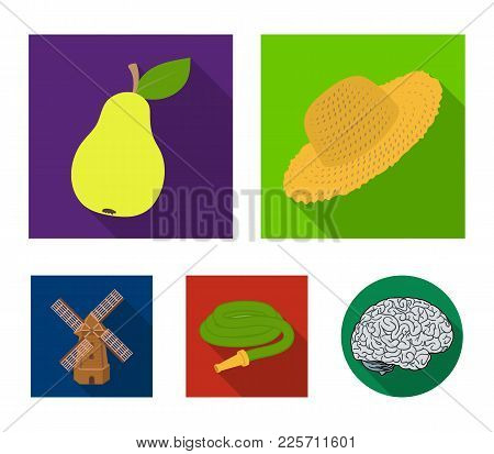 Straw Hat, Pear With Leaf, Watering Hose, Windmill. Farmer And Gardening Set Collection Icons In Fla