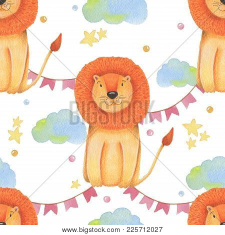 Watercolor Pattern Animal Cute Lion On A White Background, Star, Garland, Clouds. Hand Draw Illustra