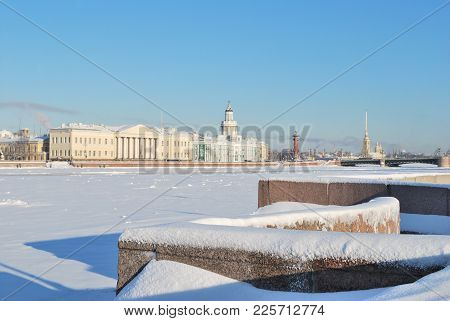 Saint-petersburg, Russia. The Neva Embankments In A Sunny Cold Winter Day