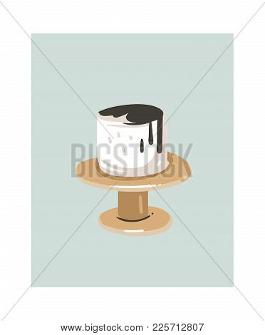 Hand Drawn Vector Abstract Cartoon Cooking Time Fun Illustrations Icon With White Cream Cake On Cake