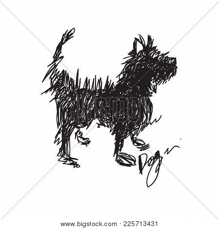 Vector Sketch Dog 2018 For Asian Lunar Year. Year Of The Dog, Happy New Year, Good Fortune, Spring,