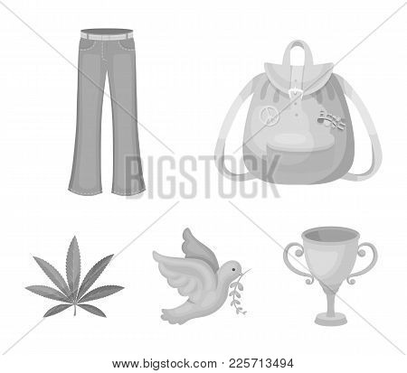 A Cannabis Leaf, A Dove, Jeans, A Backpack.hippy Set Collection Icons In Monochrome Style Vector Sym