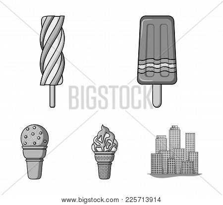 Ice Cream On A Stick, In A Waffle Cone And Other Species. Ice Cream Set Collection Icons In Monochro