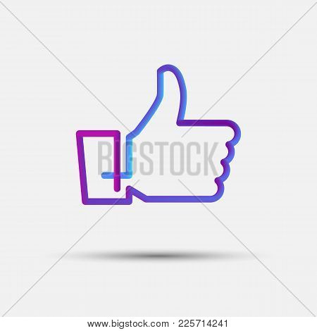 Hand Like, Thumb Up, Vote Blended Interlaced Creative Line Icon. Trendy Vector Liquid 3d Like Icon,