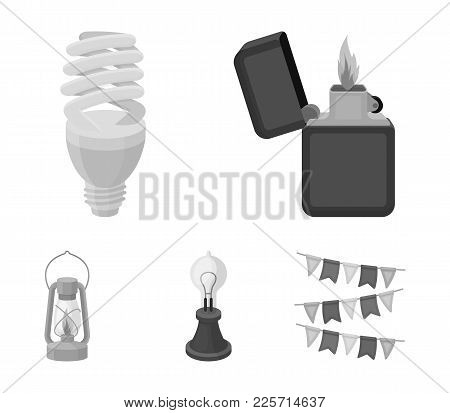Lighter, Economical Light Bulb, Edison Lamp, Kerosene Lamp.light Source Set Collection Icons In Mono