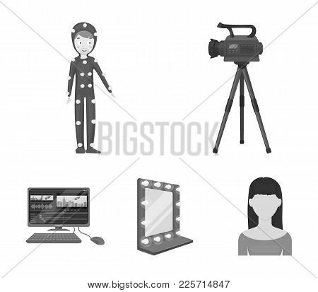 A Movie Camera, A Suit For Special Effects And Other Equipment. Making Movies Set Collection Icons I