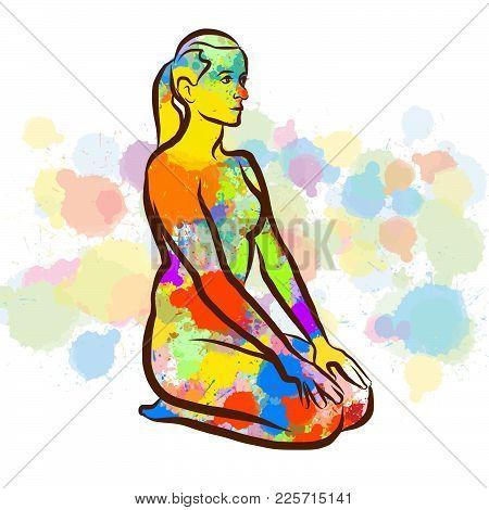 Colorful Thunderbolt Vajrasana Yoga Pose. Hand Drawn Vector Illustration, Splatter Color Isolated On