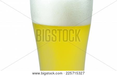 Cold Beer With Frothy In Glass On White Background