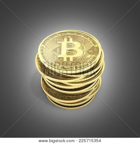 Bitcoin Pile Of Coins 3d Isometric Physical Bit Coin In Gold Digital Currency Cryptocurrency Golden