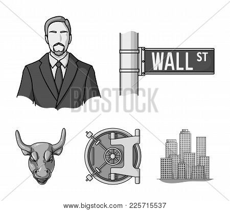 Wall Street, A Businessman, A Bank Vault, A Gold Charging Bull. Money And Finance Set Collection Ico