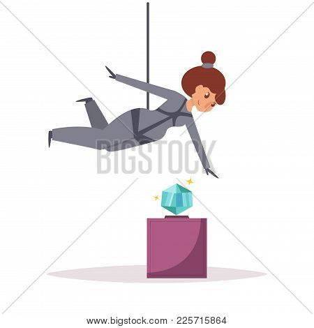 Thief Robbing A Jewelry Store Or Museum. Diamond. Robber. Vector. Cartoon. Isolated Art On White Bac