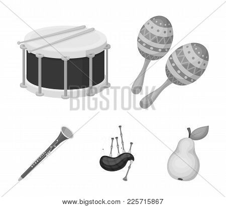 Maracas, Drum, Scottish Bagpipes, Clarinet. Musical Instruments Set Collection Icons In Monochrome S
