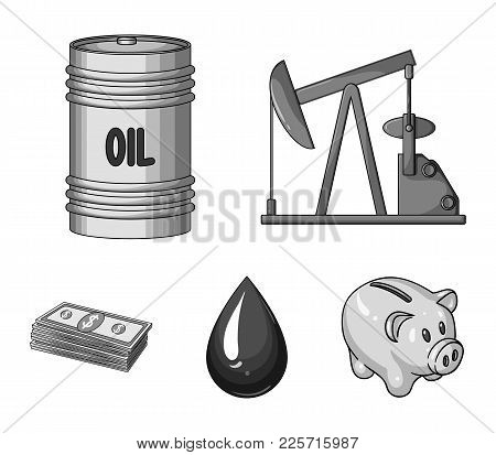 Pump, Barrel, Drop, Petrodollars. Oil Set Collection Icons In Monochrome Style Vector Symbol Stock I