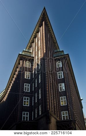 HAMBURG, GERMANY - OCTOBER 12, 2015: The Chilehaus (Chile House) is an architectural landmark buildi