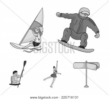 Snowboarding, Sailing Surfing, Figure Skating, Kayaking. Olympic Sports Set Collection Icons In Mono