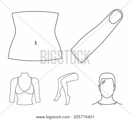 Finger, Female Feet, Female, Bust. Part Of The Body Set Collection Icons In Monochrome Style Vector